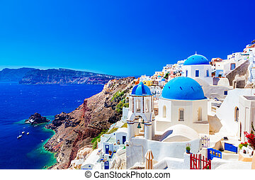 Oia town on Santorini island, Greece Caldera on Aegean sea -...