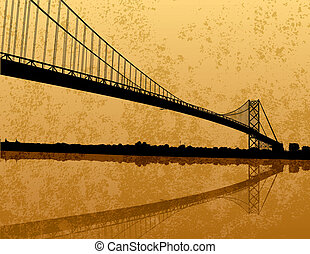 Ambassador Bridge - A silhouette of the Ambassador Bridge