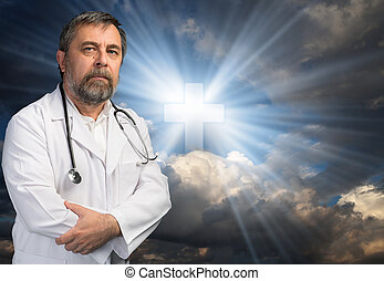 Science or religion concept Portrait of a medical doctor...