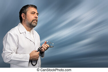 medical doctor with stethoscope - Portrait of a medical...