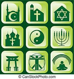 religious signs - set of vector icons of religious signs and...