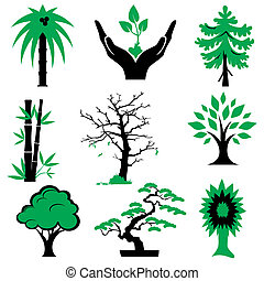 green trees - set of vector silhouette icons of trees and...