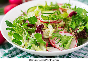 Fresh salad of cucumbers, radishes and herbs