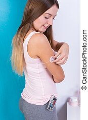 Female during insulin infusion therapy - Photo of attractive...