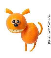divertido, perro, hecho, de, naranja, en, blanco, Plano de...