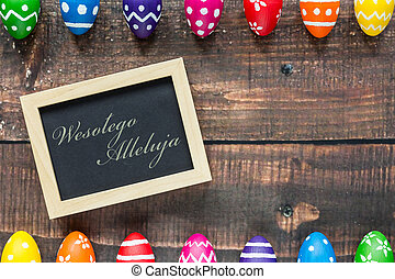 Wishing you a happy Easter! - Shot of colorful Easter eggs...