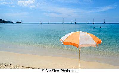 Beach umbrella on a sunny day, in Phuket ,Thailand