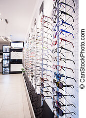Exhibition of rims - Exhibition of colorful eyeglasses rims...