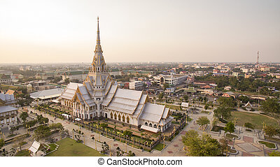 aerial view of wat sothorn templein chachengsao province...