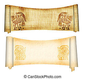 Scrolls with American Indian national patterns