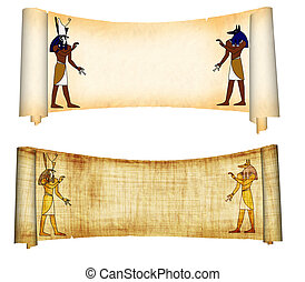 Anubis and Horus - Scrolls with Egyptian gods images -...