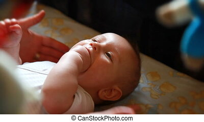 Baby boy laughing, sound included
