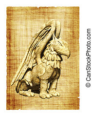 Griffin - Parchment with griffin images. Object over white