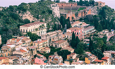 Sicily - Taormina aereal view with ancient greek theater -...