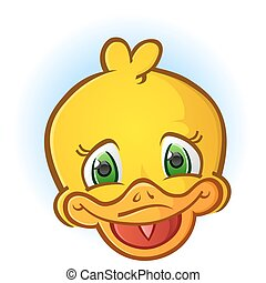 Yellow Rubber Duck Face Cartoon - A fun, happy rubber duck...