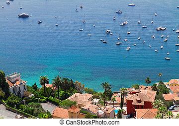 cote dAzur, France - turquiose water of cote dAzur coast...
