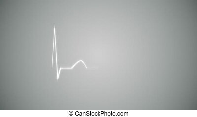 Cardiogram Background in Gray - Abstract Heart Beat...