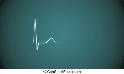 Cardiogram Background in Green - Abstract Heart Beat...
