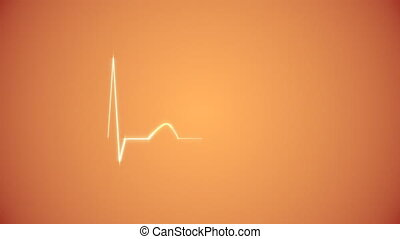 Cardiogram Background in Orange - Abstract Heart Beat...