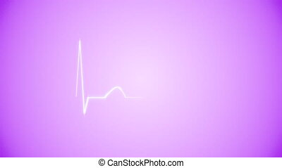 Cardiogram Background in Purple - Abstract Heart Beat...