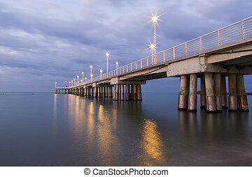 X-mas pier - Panoramic view of a pier decorated with...