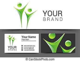 business card for your business people logo green