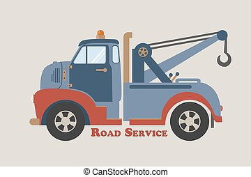 towing truck road service - retro illustration of a vintage...