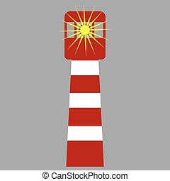 Glowing classic striped lighthouse
