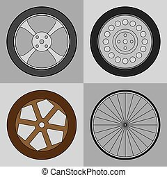 Wheel icons set - Icon set of car, bicycle and wooden cart...