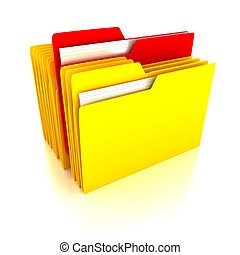 Folders over white background 3d render