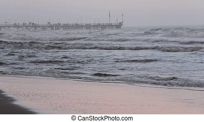 Sea Evening Storm view and Pier. - Sea evening storm view...