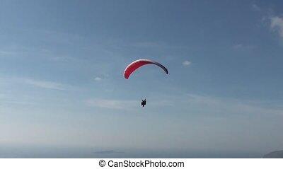 Parachute sliding close up - Parachute sliding with two...