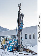 truck with geological twist drill for sample of the soil