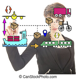 Young businesswoman with logistic movements symbols