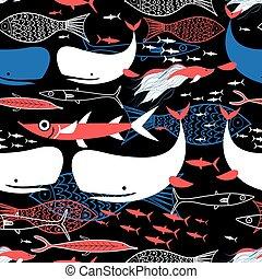 Seamless pattern of bright fish