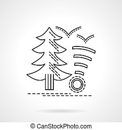 Camping service flat line design vector icon