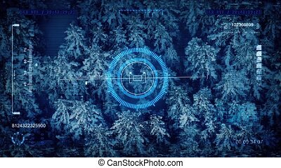 Military Drone POV Snowy Forest - HUD display with digital...