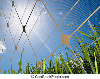 Solar energy concept - Closeup of a photovoltaic solar cell...