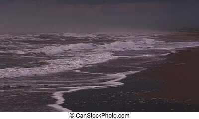 Sea Storm Twilight view. - Beach twilight view with sea...