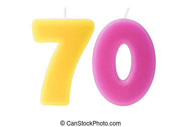 70th birthday candles isolated - Colorful birthday candles...