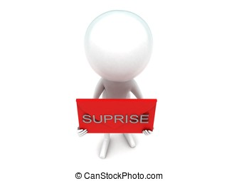 3d man presenting suprise text concept in white isolated...