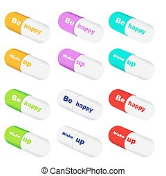 Vector colorfull happiness pills - Collection of Vector...