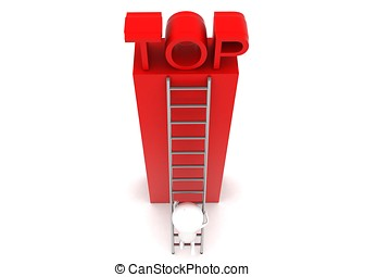 3d man climbing up to top using ladder concept in white...