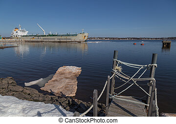 Large Freighter in Charlottetowne Harbour - Large freighter...