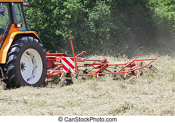 Raking hay with a rotary hay rake in a close up view of the...