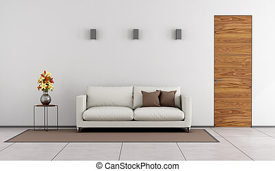 Minimalist living room with wooden door and white sofa on...