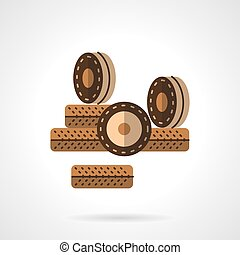 Roller wheels flat color design vector icon