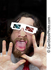 Bearded Man 3D Glasses - Silly bearded man wearing 3D...