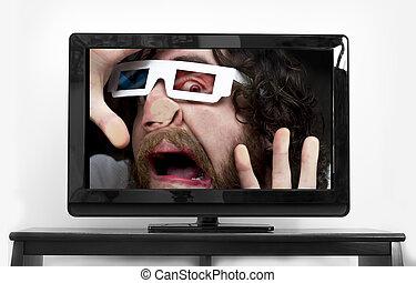 Bearded Man 3D Glasses - Silly bearded man wearing 3D...