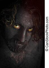 Demon Monster Beard - Demon monster man with beard and...